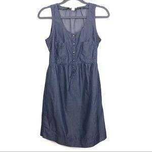 J. Crew Navy Blue Cotton Denim Jumper Mini Dress 4